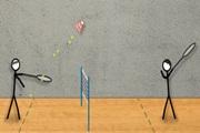 2 spelers Badminton